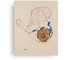 Egon Schiele - Nude with Blue Stockings, Bending Forward 1912 Woman Portrait Canvas Print