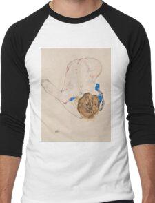 Egon Schiele - Nude with Blue Stockings, Bending Forward 1912 Woman Portrait Men's Baseball ¾ T-Shirt