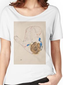 Egon Schiele - Nude with Blue Stockings, Bending Forward 1912 Woman Portrait Women's Relaxed Fit T-Shirt