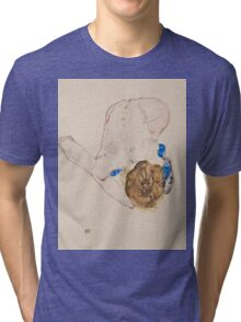 Egon Schiele - Nude with Blue Stockings, Bending Forward 1912 Woman Portrait Tri-blend T-Shirt
