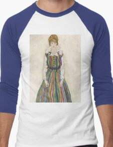 Egon Schiele - Portrait of Edith the artist's wife 1915 Woman Portrait Men's Baseball ¾ T-Shirt