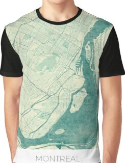 Montreal Map Blue Vintage Graphic T-Shirt