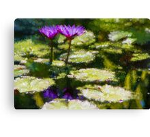 Waterlilies Impressions – Purple Duo Shimmer Canvas Print