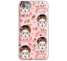 Frida Kahlo pattern print kids hand drawn pastel pink  andrea lauren  iPhone Case/Skin