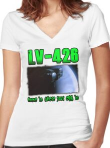 Alien LV-426 Women's Fitted V-Neck T-Shirt