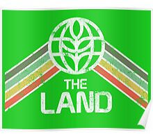 The Land Logo Distressed in Vintage Retro Style Poster