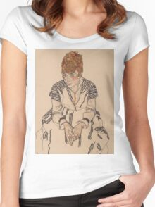 Egon Schiele - Portrait of the Artist's Sister Women's Fitted Scoop T-Shirt