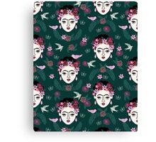 Frida Kahlo hunter green pastel pink children kids hand drawn pattern print andrea lauren  Canvas Print