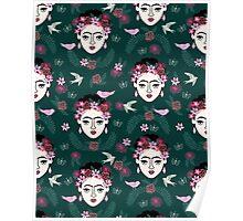 Frida Kahlo hunter green pastel pink children kids hand drawn pattern print andrea lauren  Poster