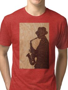 White jazz mood marquetry picture Tri-blend T-Shirt