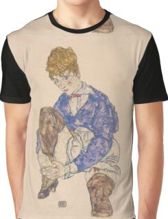 Egon Schiele - Portrait of the Artist's Wife Seated, Holding Her Right Leg 1917 Graphic T-Shirt
