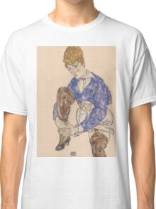 Egon Schiele - Portrait of the Artist's Wife Seated, Holding Her Right Leg 1917 Classic T-Shirt