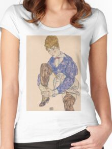 Egon Schiele - Portrait of the Artist's Wife Seated, Holding Her Right Leg 1917 Women's Fitted Scoop T-Shirt