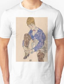 Egon Schiele - Portrait of the Artist's Wife Seated, Holding Her Right Leg 1917 Unisex T-Shirt