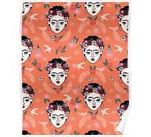 Frida Kahlo hand drawn kids children illustration pattern print design andrea lauren  Poster