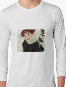 Egon Schiele - Portrait of Wally Neuzil 1912 Woman Portrait Long Sleeve T-Shirt