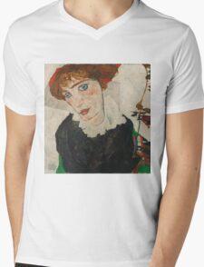 Egon Schiele - Portrait of Wally Neuzil 1912 Woman Portrait Mens V-Neck T-Shirt