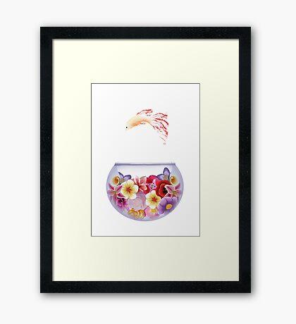 Floral Fish Bowl White Framed Print