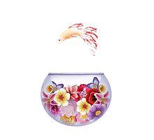 Floral Fish Bowl White Photographic Print