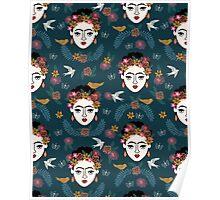 Frida Kahlo kids children pattern print hand drawn navy floral Frida andrea lauren  Poster