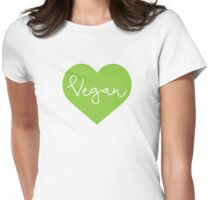 Vegan Heart - Cursive Womens Fitted T-Shirt
