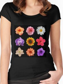 Floral Pattern Women's Fitted Scoop T-Shirt