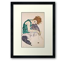 Egon Schiele - Seated Woman with Legs Drawn Up Adele Herms 1917 Framed Print