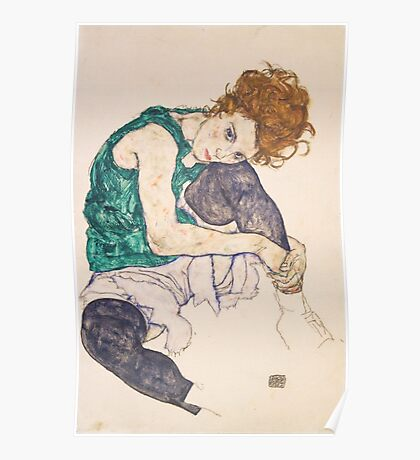 Egon Schiele - Seated Woman with Legs Drawn Up Adele Herms 1917 Poster