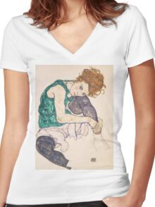 Egon Schiele - Seated Woman with Legs Drawn Up Adele Herms 1917 Women's Fitted V-Neck T-Shirt