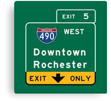 Rochester, Road Sign, New York Canvas Print