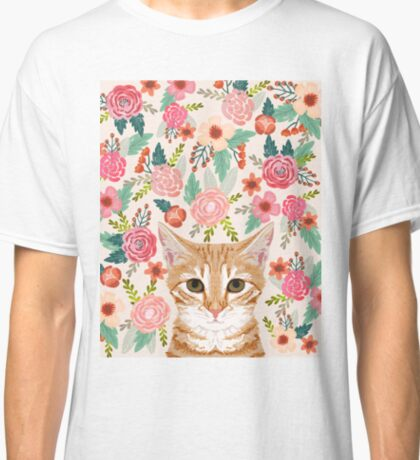 Tabby Cat florals spring cute girly cat lady gifts orange tabby cat owners Classic T-Shirt