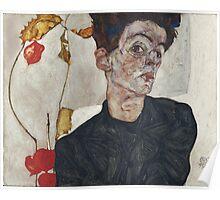Egon Schiele - Self-Portrait with Chinese Lantern Plant 1912  Expressionism  Portrait Poster