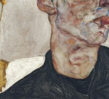 Egon Schiele - Self-Portrait with Chinese Lantern Plant 1912  Expressionism  Portrait Sticker