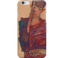 Egon Schiele - Self-Portrait with Eyelid Pulled Down, 1910 iPhone Case/Skin