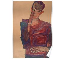 Egon Schiele - Self-Portrait with Eyelid Pulled Down, 1910 Poster