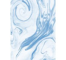 Hiroki - spilled ink abstract indigo navy blue water waves map maps topography swirl painting Photographic Print