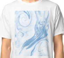 Hiroki - spilled ink abstract indigo navy blue water waves map maps topography swirl painting Classic T-Shirt