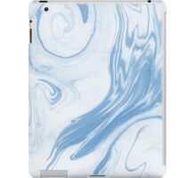 Hiroki - spilled ink abstract indigo navy blue water waves map maps topography swirl painting iPad Case/Skin