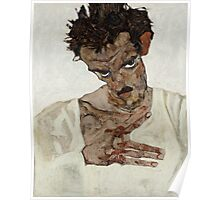 Egon Schiele - Self-Portrait with Lowered Head 1912  Expressionism  Portrait Poster