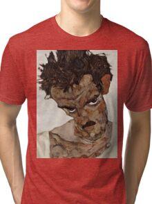 Egon Schiele - Self-Portrait with Lowered Head 1912  Expressionism  Portrait Tri-blend T-Shirt