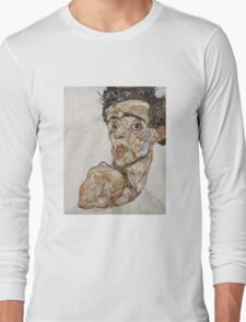 Egon Schiele - Self-Portrait with Raised Bare Shoulder 1912  Expressionism  Portrait Long Sleeve T-Shirt