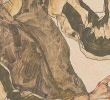Egon Schiele - Self-Portrait with Striped Armlets 1915  Expressionism  Portrait Sticker