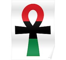 Red, Black & Green Ankh Poster
