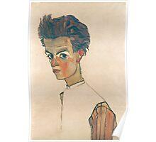 Egon Schiele - Self-Portrait with Striped Shirt 1910  Expressionism  Portrait Poster