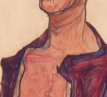 Egon Schiele - Self-Portrait, Grimacing 1910  Expressionism  Portrait Sticker