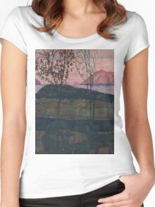 Egon Schiele - Setting Sun 1913  Expressionism Landscape Women's Fitted Scoop T-Shirt