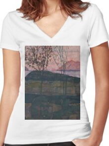 Egon Schiele - Setting Sun 1913  Expressionism Landscape Women's Fitted V-Neck T-Shirt