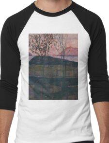 Egon Schiele - Setting Sun 1913  Expressionism Landscape Men's Baseball ¾ T-Shirt