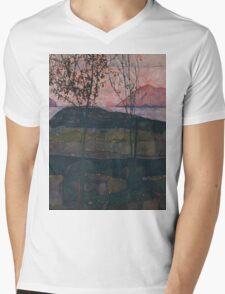 Egon Schiele - Setting Sun 1913  Expressionism Landscape Mens V-Neck T-Shirt