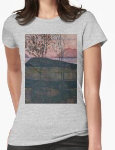 Egon Schiele - Setting Sun 1913  Expressionism Landscape Womens Fitted T-Shirt